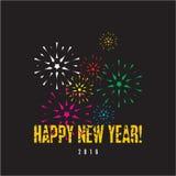Happy New Year fireworks background stock illustration