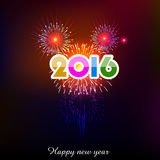 Happy New Year 2016 with fireworks background Royalty Free Stock Photography