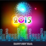 Happy New Year 2015 with fireworks background. Happy New Year 2015 with fireworks Stock Photography