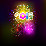 Happy New Year 2015 with fireworks background Stock Photography