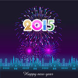 Happy New Year 2015 with fireworks background Stock Illustration