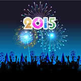 Happy New Year 2015 with fireworks background Stock Image