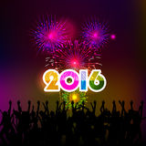 Happy New Year 2016 with fireworks background Stock Image