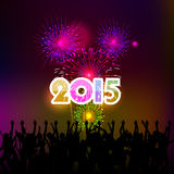 Happy New Year 2015 with fireworks background Stock Photos