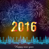 Happy New Year 2016 with fireworks background Stock Photo