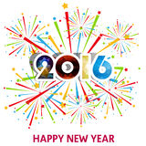 Happy New Year 2016 with fireworks background Stock Photography