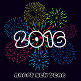 Happy New Year 2016 with fireworks background.  Royalty Free Stock Photos