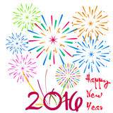 Happy New Year 2016 with fireworks background.  Stock Images