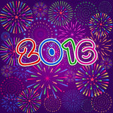 Happy New Year 2016 with fireworks background Royalty Free Stock Images