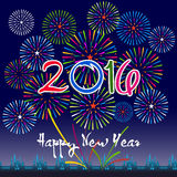 Happy New Year 2016 with fireworks background Royalty Free Stock Photos