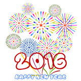 Happy New Year 2016 with fireworks background.  Royalty Free Stock Image