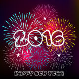 Happy New Year 2016 with fireworks background.  Stock Photo
