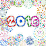 Happy New Year 2016 with fireworks background.  Royalty Free Stock Photography