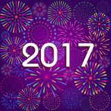 Happy New Year 2017 with fireworks background.  Royalty Free Stock Images