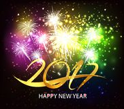 Happy new year 2017 fireworks background Stock Images