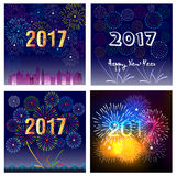 Happy New Year 2017 with fireworks background.  Royalty Free Stock Photography