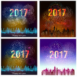 Happy New Year 2017 with fireworks background.  Stock Image