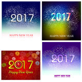 Happy New Year 2017 with fireworks background Royalty Free Stock Photography