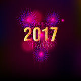 Happy New Year 2017 with fireworks background. Happy New Year 2017 with fireworks Stock Photo