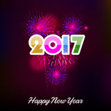 Happy New Year 2017 with fireworks background. Happy New Year 2017 with fireworks Stock Photography