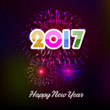 Happy New Year 2017 with fireworks background. Happy New Year 2017 with fireworks Stock Images