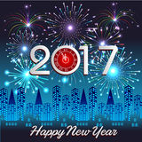 Happy New Year 2017 with fireworks background Royalty Free Stock Image
