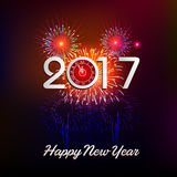 Happy New Year 2017 with fireworks background. Happy New Year 2017 with fireworks Royalty Free Stock Photography