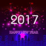 Happy New Year 2017 with fireworks background. Happy New Year 2017 with fireworks Stock Photos
