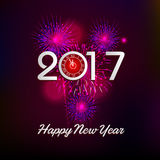 Happy New Year 2017 with fireworks background. Happy New Year 2017 with fireworks Royalty Free Stock Photo