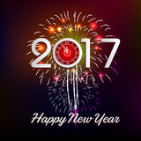 Happy New Year 2017 with fireworks background. Happy New Year 2017 with fireworks Royalty Free Stock Image