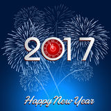 Happy New Year 2017 with fireworks background. Happy New Year 2017 with fireworks Royalty Free Stock Images