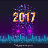 Happy New Year 2017 with fireworks background Royalty Free Stock Photos