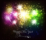 Happy new year fireworks background. Beautiful Vector Fireworks for happy new year Stock Photos
