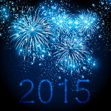 Happy New Year 2015 fireworks background. Easy editable royalty free illustration