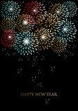 Happy new year fireworks background. Happy new year holidays fireworks greeting card background. EPS10 illustration organized in layers for easy editing Royalty Free Stock Images