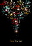 Happy new year fireworks background. Happy new year holidays fireworks greeting card background. EPS10 illustration organized in layers for easy editing Stock Images