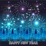 Happy New Year with fireworks background Royalty Free Stock Image
