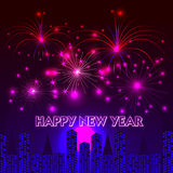 Happy New Year with fireworks background. Illustration Royalty Free Stock Photo