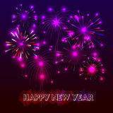 Happy New Year with fireworks background. Illustration Royalty Free Stock Images