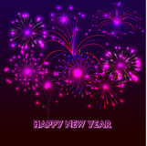 Happy New Year with fireworks background. Illustration Stock Photography
