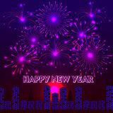 Happy New Year with fireworks background. Illustration Royalty Free Stock Photography