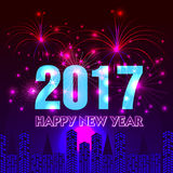 Happy New Year 2017 with fireworks background. Happy New Year with fireworks background illustration Royalty Free Stock Photography