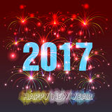 Happy New Year 2017 with fireworks background. Happy New Year with fireworks background illustration Stock Photo