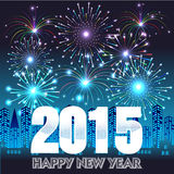 Happy New Year 2015 with fireworks background Royalty Free Stock Images