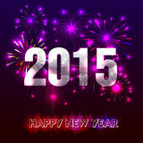 Happy New Year 2015 with fireworks background Royalty Free Stock Photography