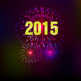Happy New Year 2015 with fireworks background. Happy New Year with fireworks background  illustration Stock Photography