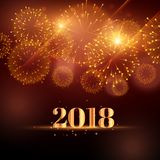 Happy new year fireworks background for 2018. Illustration Royalty Free Stock Image