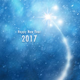 Happy new year fireworks background. New Year 2017 illustration background with fireworks and snowflakes background Royalty Free Stock Images