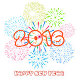 Happy New Year 2016 with fireworks background. Vector Royalty Free Stock Photos