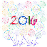 Happy New Year 2016 with fireworks background. Vector Royalty Free Stock Photography
